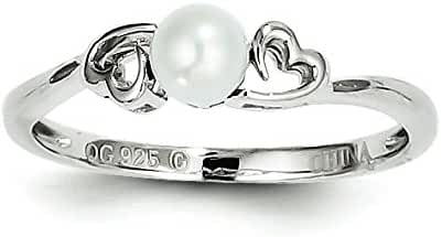 925 Sterling Silver Rhodium-plated June Stone Freshwater Cultured Pearl Ring