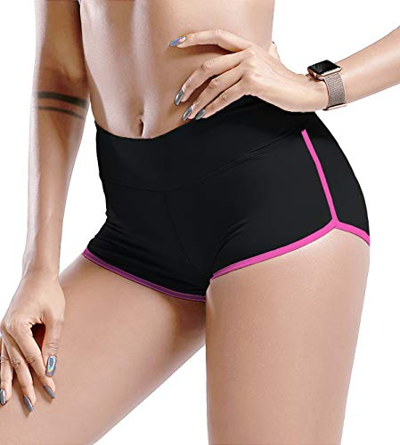 TYUIO Women's Gym Compression Running Shorts Fitness Workout Training Yoga Pink XL