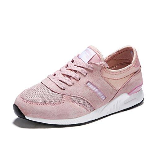 Chaussures femme Femme de femmes pour respirant 40 Chaussures HWF Casual taille Gris Printemps Chaussures Mesh de Rose Chaussures Couleur Course Chaussures sport Étudiant 4E5qxXw