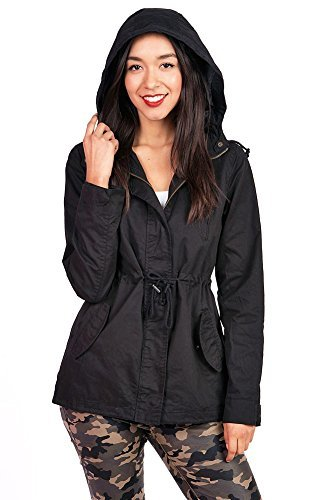 (Pink Ice Women's Trendy Cargo Style Hoodie Jacket (Medium, Black))