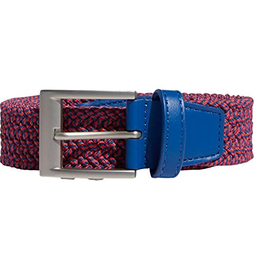 (adidas Golf 2019 Mens Braided Stretch Square Pin Buckle Belt Red/Blue S/M)