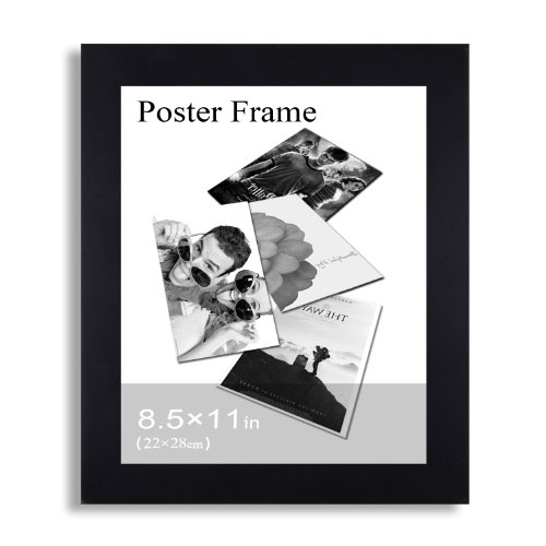 :Adeco [PF0376]  Decorative Wood Wall Hanging Poster Picture Photo Frame, 8.5x11-inch, Black by Adeco