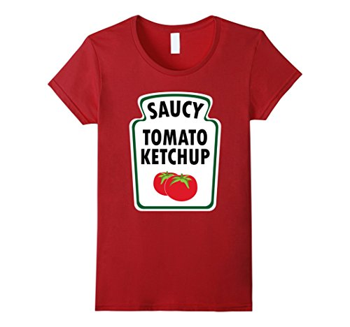 Easy Classic Halloween Costumes (Womens Easy Halloween Costume Ketchup Shirt Group Mustard Relish Medium Cranberry)