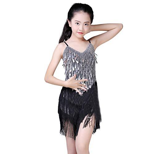 Children Latin Dance Dress for Girls Cha-Cha Competition Latin Dress Dancing Kids Girl Dancewear Kid Latin Sequins Costumes,Silver,120Cm]()