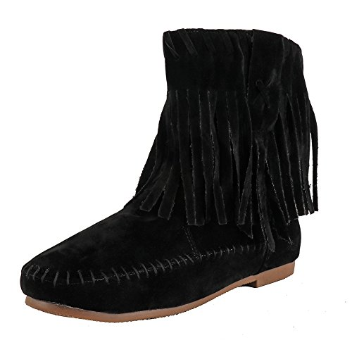 Meeshine Womens Fringed Tassel Suede Moccasin Boots Black US 9