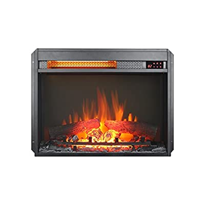 innoflame 23 inch Embedded Electric Fireplace Insert Heater with Remote Control,1500W, Black