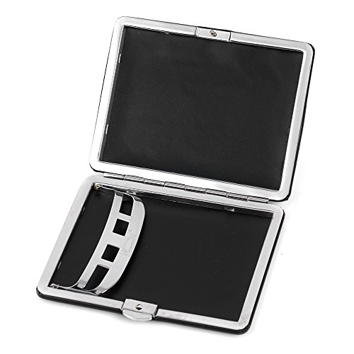Leather 8 Metal Case Cigarette Ultra Holder Cigarettes Holds Box Black thin Plain SqxwwvWtgZ