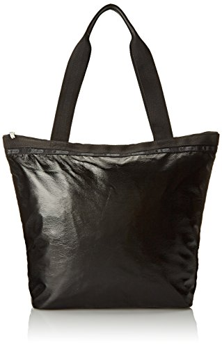 - LeSportsac Hailey Tote Bag, Black Crinkle Patent, One Size