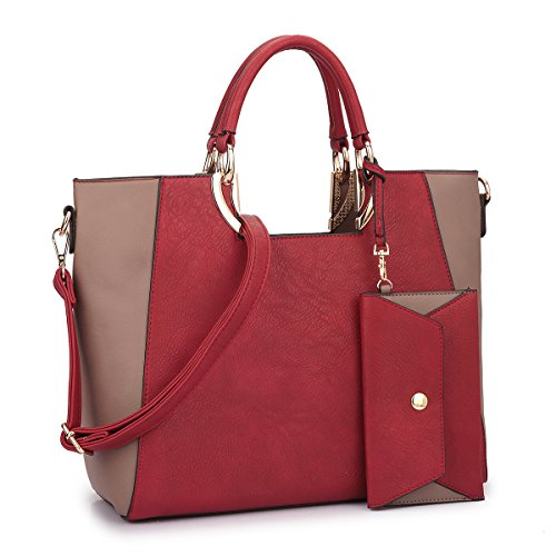 Large Tote Two Tone Satchel Handbag Designer Purse w/Coin Purse & Removable Shoulder Strap Red/Taupe by MKY