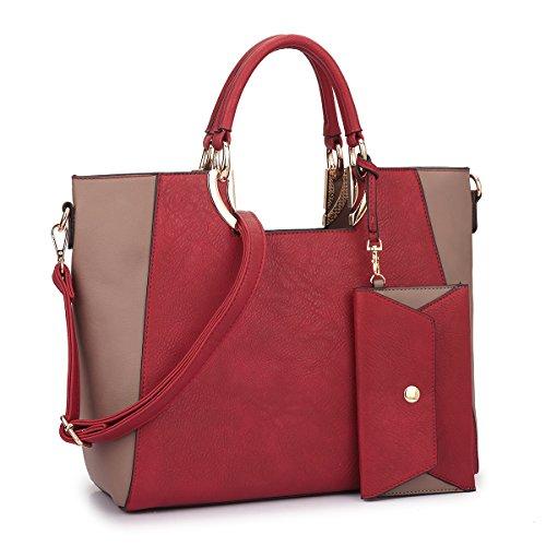 MMK collection Fashion Handbag with coin purse Classic Handbag for Women` Signature fashion Designer Purse ` Designer Perfect Women Satchel Purse ~ Beautiful Women Satchel Purse (11-6949-1-RD/LP)
