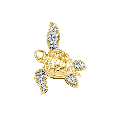 10k Yellow Gold Diamond Womens Sea Turtle Tortoise Animal Shell Fine Pendant 1/10 Cttw (I2-I3 clarity; H-I color)