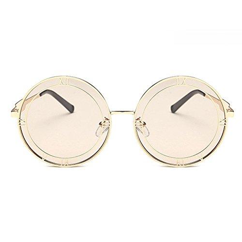 diseñador del Gafas de foto de de de las de de de las redondas imitación la gran Blue sol para marca para con tamaño la moda mujeres romanas con estuche Oro señoras diamantes grandes Gafas diseñador Hqgw64Zw