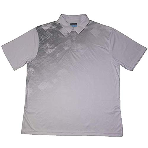 PGA TOUR Mens Tech Space Dye Argyle Print Polo 2XL, Bright White