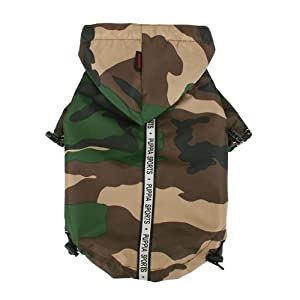 Puppia Authentic Base Jumper Raincoat, Medium, Camo