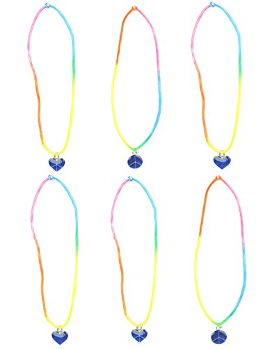 FROG SAC Mood Necklace for Girls 6 Pieces Pack - Color Changing Mood Pendant Necklaces with Heart and Peace Designs on Tie Dye Stretch Cord - Great Gifts and Party Favors for Teens and Young Women
