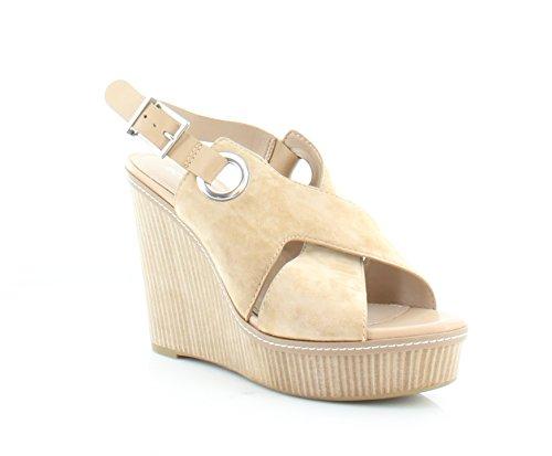 BCBGeneration Womens Penelope Leather Open Toe Casual Platform Wedge Sandals Sand/Sand 10.0 M US