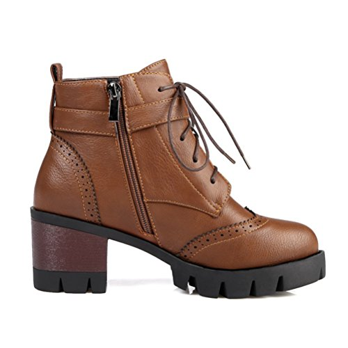 Agodor Women's Retro Block Mid Heel Lace Up Short Ankle Boots With Buckles Brown 61C43