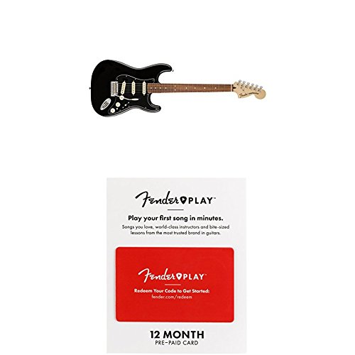 Fender Deluxe Stratocaster Electric Guitar - Pau Ferro Fingerboard - Black With 12 Months Guitar Lesson Gift Card