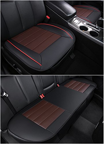 Amooca Auto Interior Accessories Styling PU Leather Charcoal Full Car Seat Cover Pad Seat cushion Mat Protective Cover for Car/ Office Chair, Universal Seatpad (Back&Front Row) (Full Car Styling)