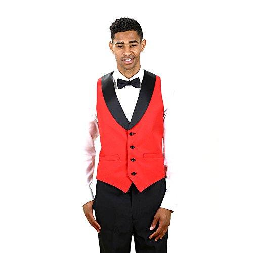 Men's Red Full Back Tuxedo Vest with Black Lapel Small ()