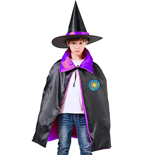 Blue and Yellow Star of David Children's Ghost Festival Costumes Satin Cloth Witch Cloak Robe Cape Hat Kids Purple,Red