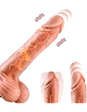 Thrusting Heating Realistic Dildo - Vibrator with Strong Suction Cup with 8 Thrusting Modes Super Silicone Adult Sex Toy G-Spot Vibrator for Women Vagina Men Anal Masturbation - 8 Inch