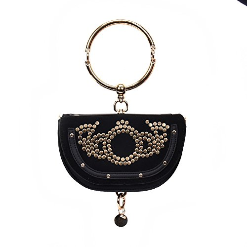 Bags YiNan Female Bag Rivet Shoulder Half Package Diagonal Handle Top Ring Totes New Moon Black Handbag 6qEwfr6