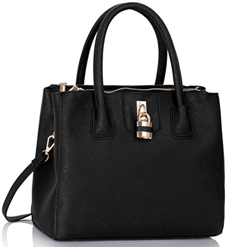 Size Large LeahWard Bags Black 195 Clearance Sale For Tote Shoulder Handbags Padlock Women Oqqd5