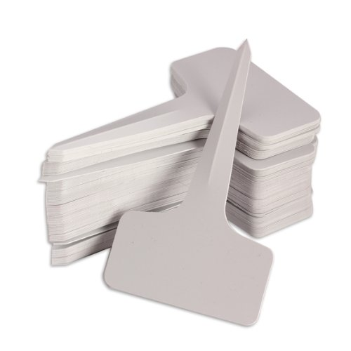 Vktech 100 pcs 6 x 10cm Plastic Plant T-type Tags Markers Nursery Garden Labels Gray (White)