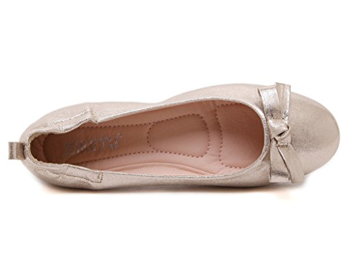 Bowknot Sweet Women's soled Roll Gold Round Casual Princess Fortuning's headed JDS Shoes Egg Soft wTtIIz
