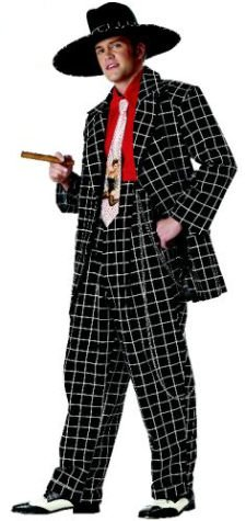 [Black Zoot Suit - Medium - Chest Size 34-36] (40s Mobster Costumes)