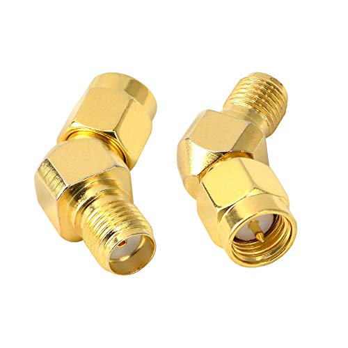 FPV Antenna Adapter SMA Male to Female 45 Degree Antenna Adapter Gold Plated Connector for FPV Race RX5808 Fatshark Goggles Pack of 2 (Deg Male Elbow)