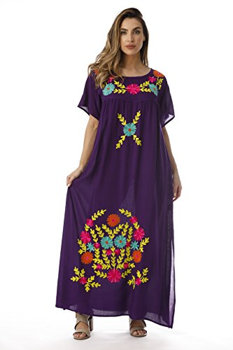 Embroidered Long Dress - Riviera Sun Long Embroidered Dresses for Women 21861-PUR-S Purple
