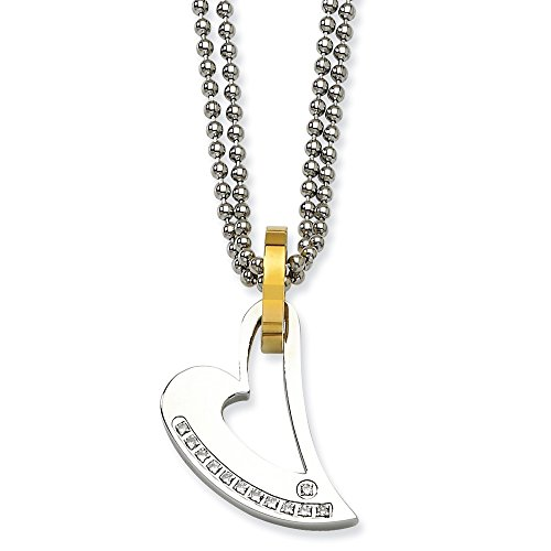 Roy Rose Jewelry Stainless Steel Yellow IP-Plated Circle & Heart with CZs Necklace 22'' inches Length