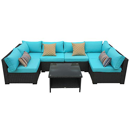 Patio Rattan Sofa 7 Piece Outdoor Garden PE Wicker Rattan Sectional Furniture Set Turquoise Cushion