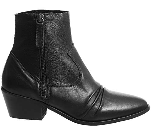 Ruched Boots Black Acute Leather Office FYX6x5q5