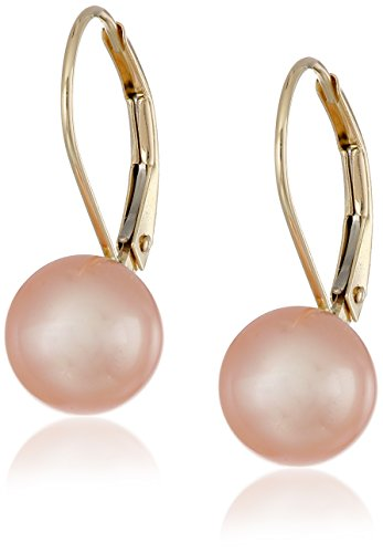 14k-Yellow-Gold-Freshwater-Cultured-AA-Quality-8mm-9mm-Pearl-Lever-Back-Earrings