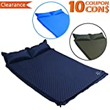 Fruiteam Camping Sleeping Pad Self Inflating Mat for 2 Person with Attached Pillow, Compact Lightweight