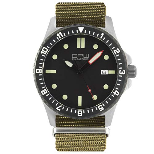 German Military Titanium Automatic Watch. GPW Date. 200M W/R. Sapphire Crystal. Olive Nylon Strap. (German Watches For Women)