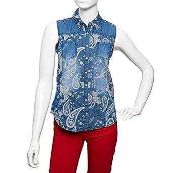 Big Dart Blue Denim Shirt Neck Shirts For Women