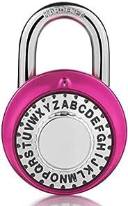 HZWLF Cadeados, combinação segura de fechaduras de letras fixas, toca-discos, senha giratória, aço redondo, ar