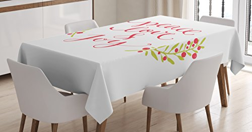 Ambesonne Quote Tablecloth, Peace Love and Joy Calligraphic Xmas Text with Winter Berries Wreath, Dining Room Kitchen Rectangular Table Cover, 60 W X 84 L inches, Dark Coral Yellow Green
