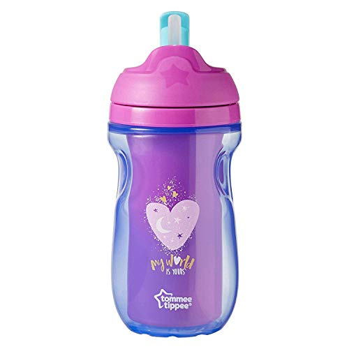 (Tommee Tippee Active Insulated Straw Cup Non Spill BPA Free Age 12m+, 260ml, Pink - Heart)