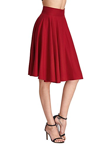 Floerns Women's High Waist A Line Knee Length Pleated Midi Skirt Burgundy S (Pleated Detail Skirt)