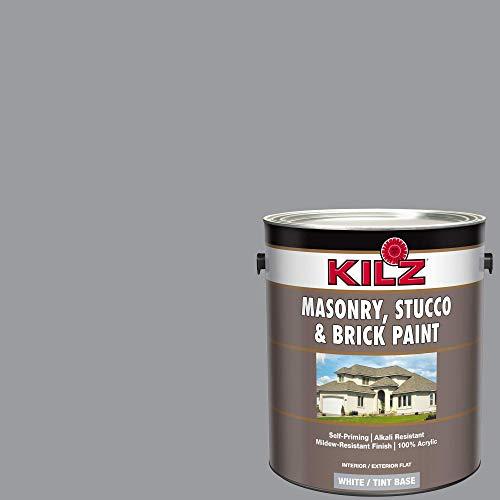 KILZ 13510701 L340711 Interior/Exterior Self-Priming Masonry, Stucco and Brick Flat Paint 1 Gallon Coal Smoke (Smoky Slate Gray) (Renewed)