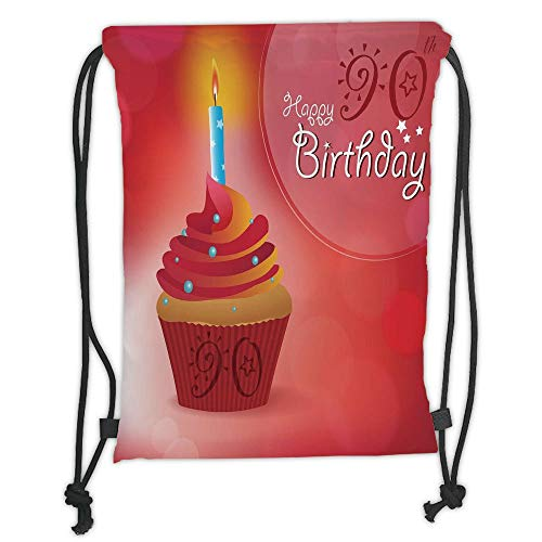 New Fashion Gym Drawstring Backpacks Bags,90th Birthday Decorations,Sun and Stars Concept with Creamy Cupcake Blue Candlestick,Red Orange Blue Soft Satin,Adjustable String -
