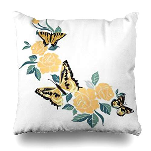 - Alfredon Throw Pillow Covers Vintage Flower Butterfly Abstract Nature Black Bouquet Embroidered Ethnic Floral Embroidery Pillowcase Square Size 20 x 20 Inches Home Decor Cushion Cases