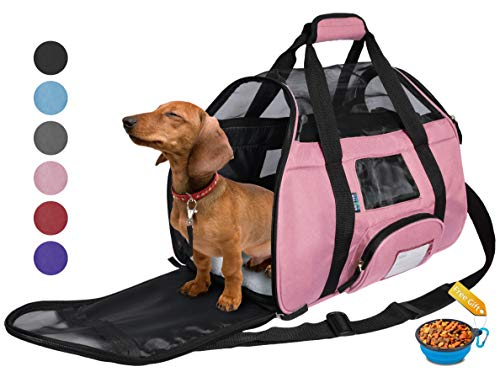 Tirrinia Soft Sided Pet Carrier Travel Bag for Small Dogs and Cats Small Animals Airline Approved with Removable Sherpa Lining Bed and Lost & Found Tag Pink