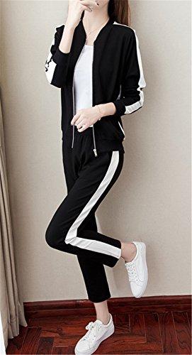JOTHIN 2017 Donna Corea Casual Autunno Eleganti Tuta Strisce Sport Giacche Calzoni due Pezzi Zip Manica lunga Nero Giacca Elasticizzati 7/8 Pantaloni 2 Pezzi