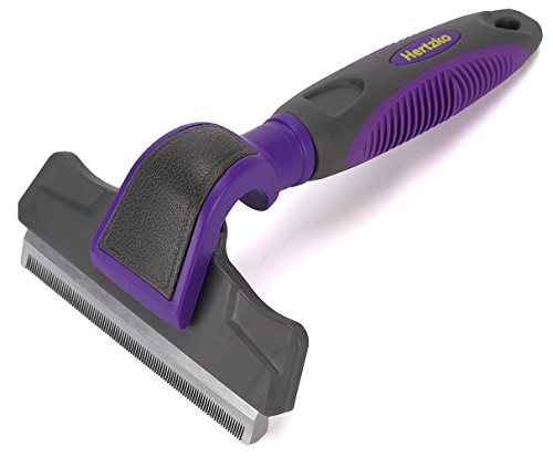 Hertzko Pet Deshedding Tool Gently Removes Shed Hair - for Small, Medium, Large, Dogs and Cats, with Short to Long Hair